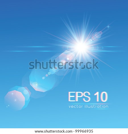Sun on blue sky with lenses flare - vector illustration.