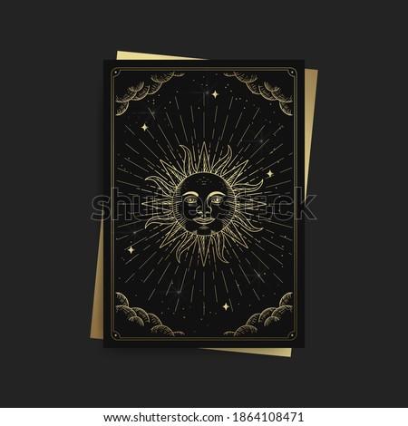 Sun or symbol of strength. Magic occult tarot cards, Esoteric boho spiritual tarot reader, Magic card astrology, drawing spiritual posters. Foto stock ©