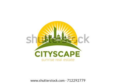 Sun over Cityscape Skyscrapers Business city Logo design vector template. Real Estate Architecture Construction Logotype concept icon.