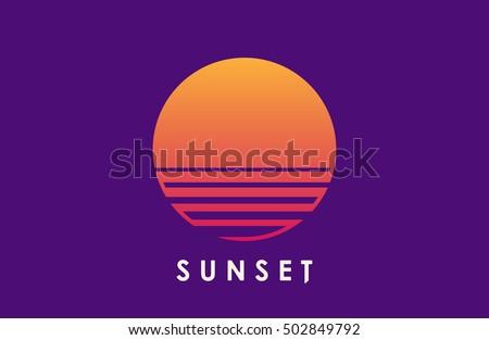 sun over the sea creative logo
