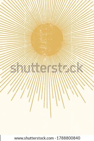 Sun print boho minimalist printable wall art geometric abstract sunset print bohemian art work vector