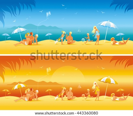 Sun protection banner set with people. Sea beach travel vector illustration. Happy family on the sea beach as background. For travel agency, summer vacation, beauty products.