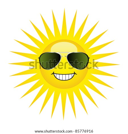 Sun protection concept. A happy sun wearing a pair of aviator sunglasses.