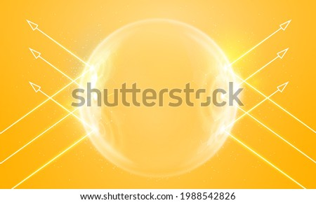 Sun protection futuristic glowing vector illustration on light background. Bubble shield from ultraviolet light. Solar protection screen from UV radiation