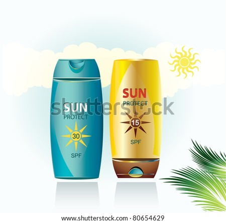 Sun Protection Lotions - stock vector