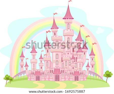 sun rainbow and castle