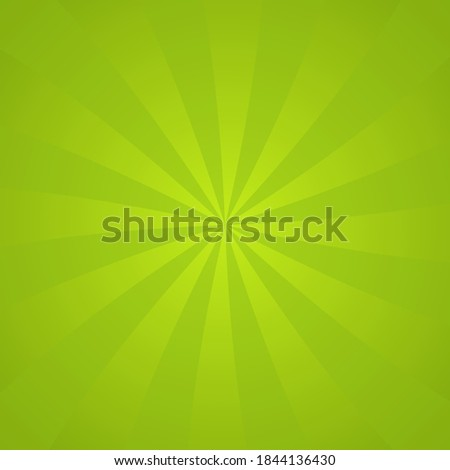 Sun rays background. Green radiate sun beam burst effect. Sunbeam light flash boom. Template starburst poster. Sunlight star, sunrise glow burst. Solar radiance glare retro design Vector illustration Сток-фото ©