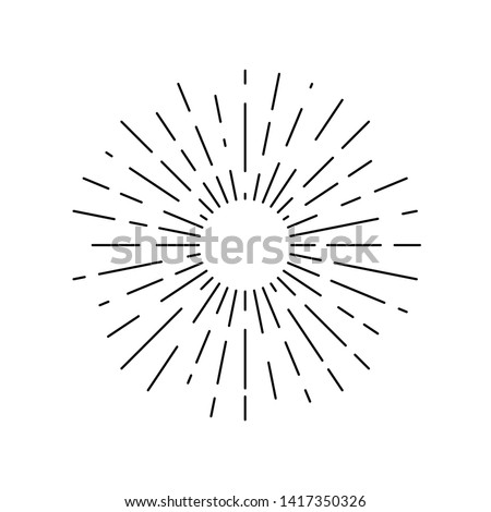 Sun rays drawn symbol. Sunlight linear icon isolated on white background. Vector illustration