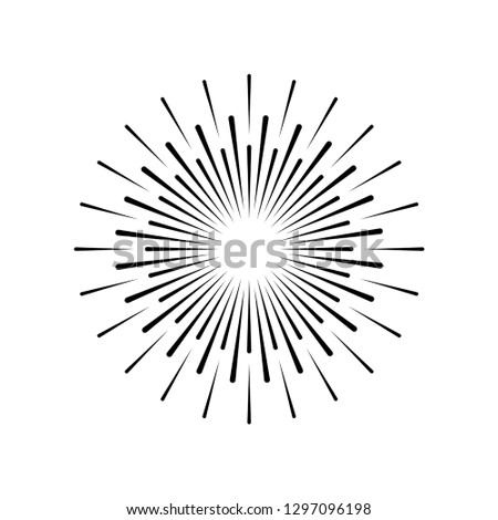 Sun rays hand drawn in vintage style. Linear design. Vector illustration. Eps10
