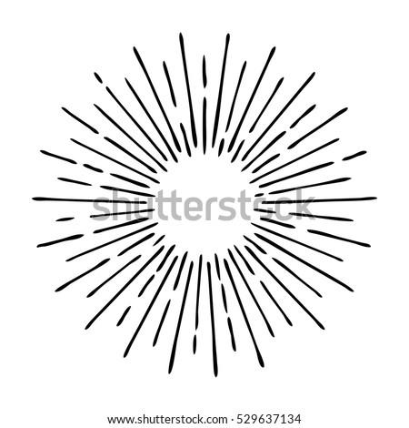 sun rays hand drawn  linear