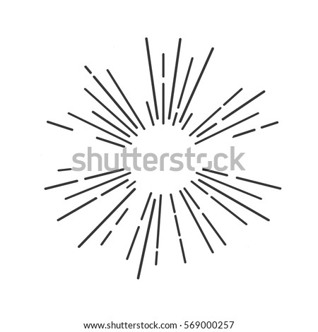 sun rays hand drawn  linear...