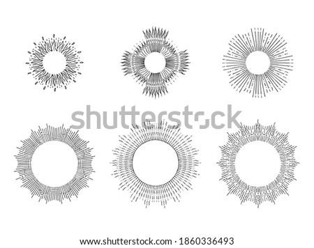 sun rays linear drawings hand