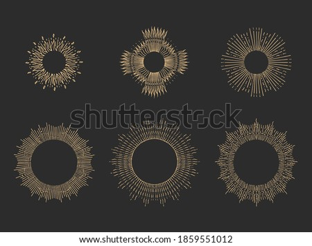 sun rays linear drawings on
