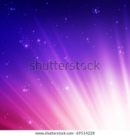 Sun rays on a colorful sky. Vector illustration