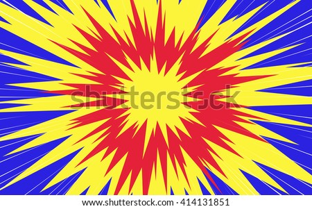 Sun rays or star burst element Rectangle fight stamp for card Comic red and yellow radial lines background Manga or anime speed graphic texture Superhero action frame Explosion vector illustration