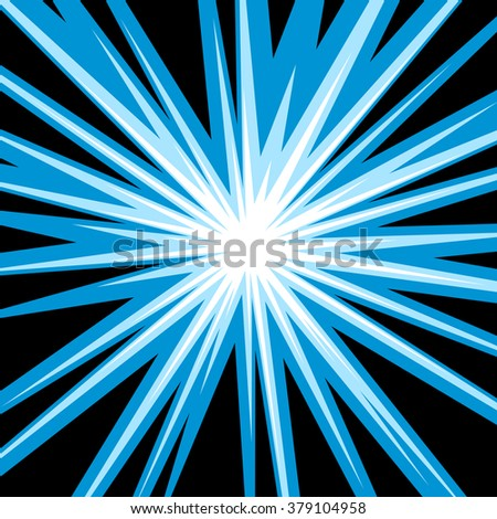 Sun Rays Or Star Burst Element Square Fight Stamp For Card Comic Blue Radial Lines Background