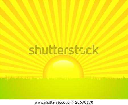 Sun Rising over field - stock vector