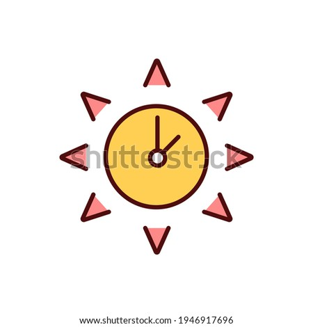 Sun safety RGB color icon. Skin damage, cancer. Severe sunburns. Hours with most intensive sunshine. Excessive UV light exposure. Sun poisoning. Ultraviolet radiation. Isolated vector illustration Foto stock ©