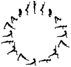 Sun salutation. Surya namaskara B. Yoga sequence. Vector illustration