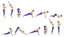 Sun salutation. Surya namaskara. Yoga sequence Vector illustration