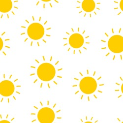 Sun seamless pattern background. Business flat vector illustration. Sun with ray sign symbol pattern.