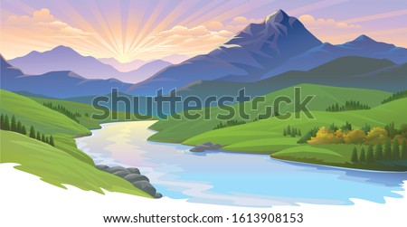 sun setting over a landscape of