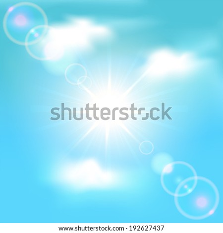 Sun shining in blue sky with clouds, illustration.