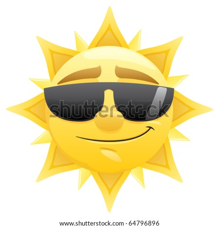 Sun: Smiling sun with sunglasses. No transparency used. Basic (linear) gradients used.