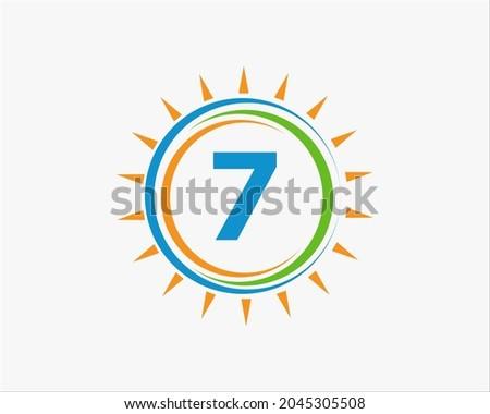 sun solar energy logo on letter