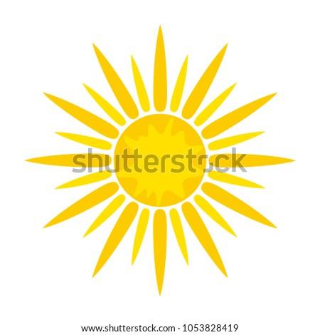 Sun symbol icon on white, stock vector illustration