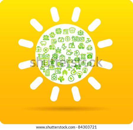 Sun symbol made from small eco,bio,natural icons