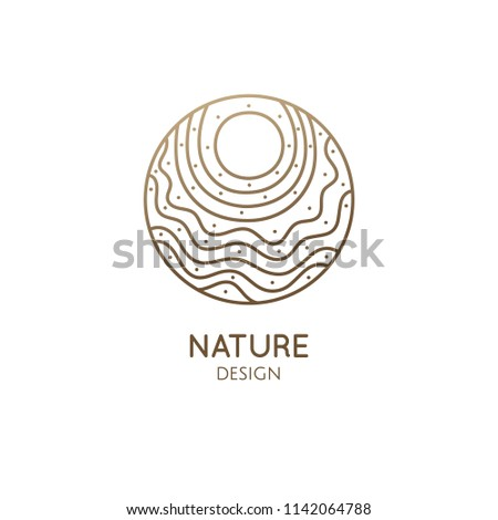 Sun vector logo. Linear round icon of sea landscape with waves and sun is wavy lines. Minimal logotype for business emblems, badge for a travel, tourism and ecology concepts, health and yoga Center.