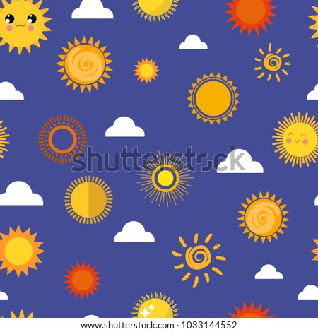 Sun vector yellow planets different style weather illustration season sunny symbol icons collection sign sky or sun nature sunny element for web application seamless pattern background
