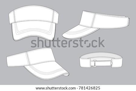 Shutterstock Sun Visor Caps for Template, White