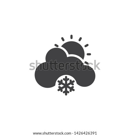 sun with cloud and snowflake