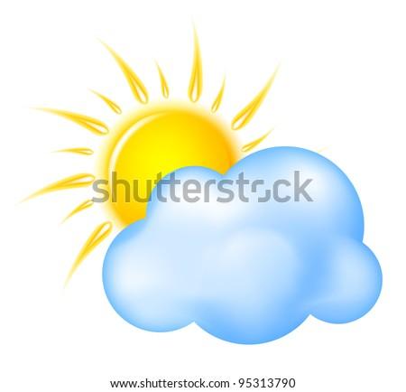 Sun with cloud vector