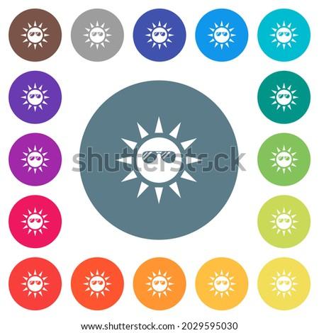sun with glossy sunglasses flat