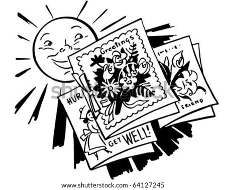 sun with greeting cards  retro clipart illustration, Greeting card