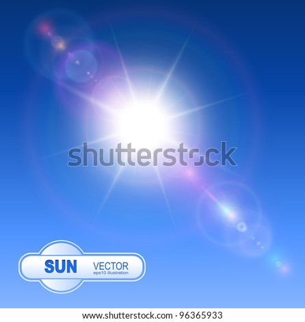 Sun with lens flare background, vector. - stock vector