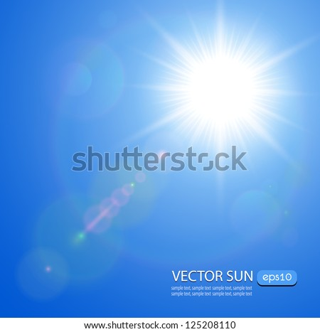sun with lens flare  vector