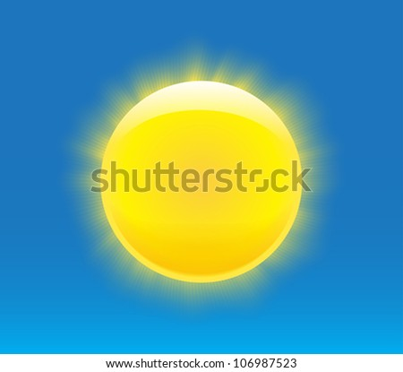 Sun with nice realistic rays. Vector illustration