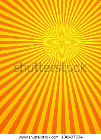 Sun with rays abstract background - stock vector