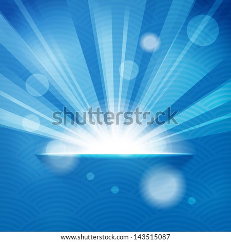 sun with rays on blue background
