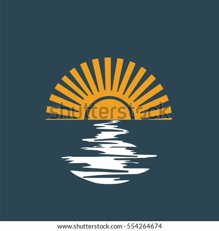 sun with sea waves