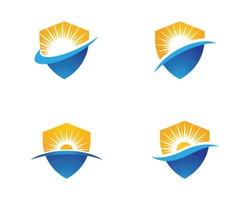 Sun with shield Vector illustration Icon Logo Template design