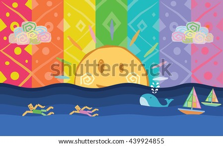 sun with sporting men swimming