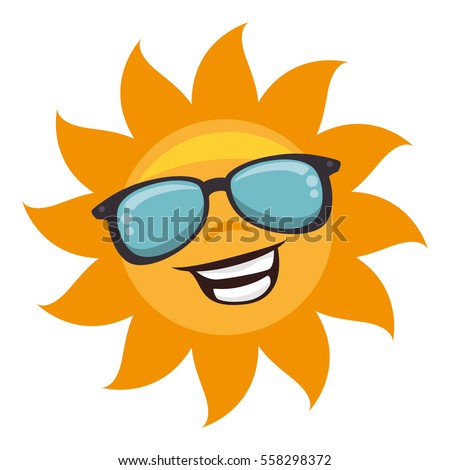 sun with sunglass character