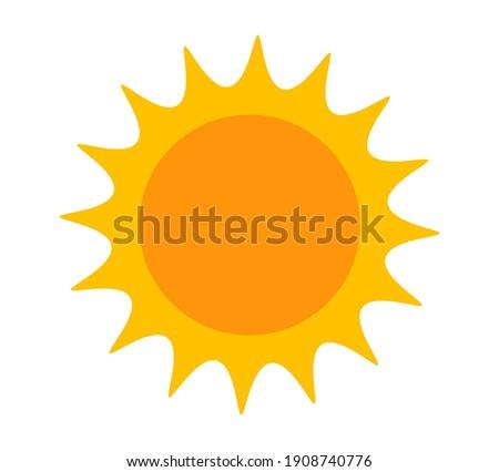 Sun. Yellow icon on white background. Vector illustration.