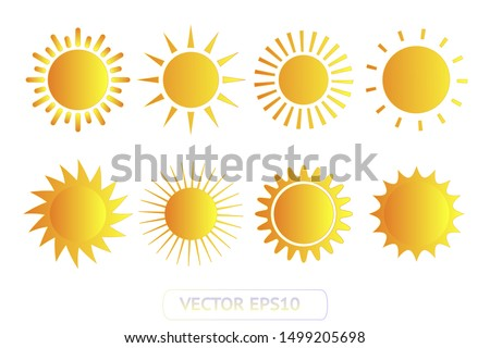 Sun yellow vector icon set sol on white background. Isolated flat sunlight illustration collection element for logo, weather, summer, spring, autumn. Burst symbol template Foto stock ©