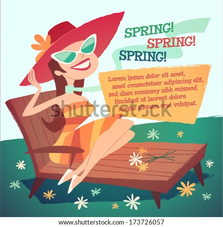 sunbathing girl vector